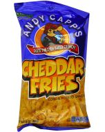 A large 85g bag of cheddar cheese fries made by Andy Capps