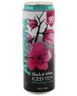 A large can of Arizona black and white iced tea drink
