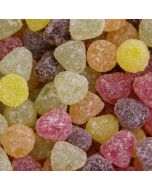 Small dome shaped jelly sweets, in assorted fruit flavours and sugar coated