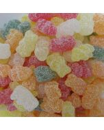 An assortment of fruit flavour fizzy sweets shaped like teddy bears!