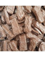 Milk chocolate flavour candy pieces shaped like tools