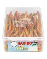A full tub of haribo rainbow twists which are vegetarian sweets