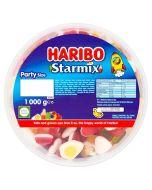 A bulk 1kg tub of Haribo Starmix, fruit flavour gummy sweets