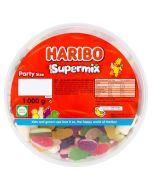 A 1kg bulk tub of Haribo Supermix, fruit and milk flavour gums