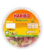 A bulk 1kg tub of Haribo Tangfastics, fruit flavour fizzy jelly sweets