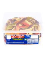 A full tub of Haribo Yellow Bellies, giant jelly snake sweets