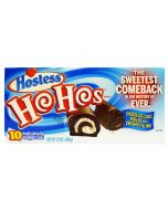 A full box of American Hostess chocolate cakes with a creamy filling and chocolate coating