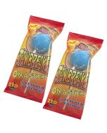 A pack of 2 monster Jawbreakers on a stick, fruit flavour candy sweets with a super sour centre.