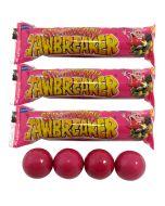 3 packets of retro strawberry jawbreaker sweets
