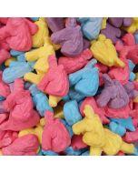 Brightly coloured jelly foam sweets shaped like magical unicorns