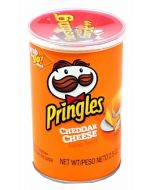 A tube of cheddar cheese Pringles imported from America