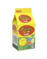 An Easter milk carton full of mini eggs with Reese's Peanut butter inside