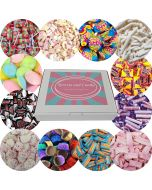 A selection of the best selling retro sweets from your childhood in our Sweets and Candy hamper box!