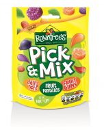 A bag of mixed rowntrees sweets including fruit pastilles, jelly tots and fruit gums