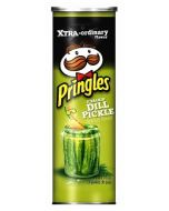 A tube of American screaming dill pickle flavour Pringles