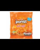 Orange flavour smartie mini eggs with milk chocolate and a crispy sugar shell