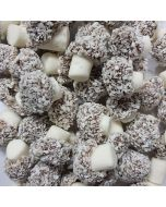 Taveners Coconut Mushrooms, a mushroom shaped sweet with fondant stalk and desiccated coconut covering