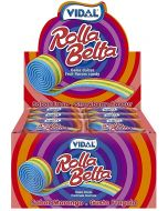 A full case of rolled up fizzy rainbow candy belts