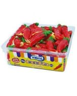 Jelly sweets with a hot flavour and shaped like chillies