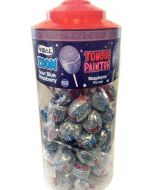 Vidal sour blue raspberry flavour tongue painter lollies with a bubblegum centre in a jar