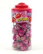 A full jar of Vidal strawberry lollies with a bubblegum centre