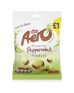 Bitesize bubbles of Aero peppermint-flavoured chocolate in smooth chocolate shells