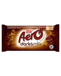 A dark and milk chocolate share size chocolate bar with a bubbly centre