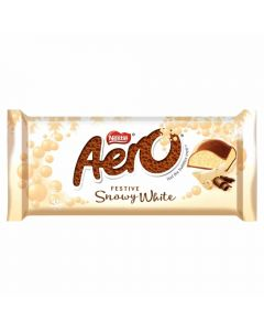 A festive edition of the aero chocolate bar with a white vanilla flavour bubbly centre