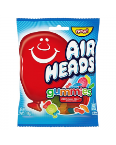 A 108g bag of fruit flavour jelly sweets made by airheads and imported from America