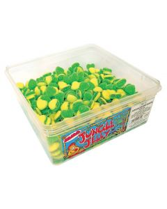 A full tub of apple and custard flavour sweets in heart shapes
