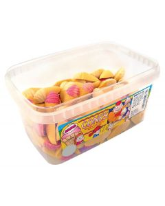 A full tub of strawberry and cream flavour candy chocolate shaped like icecream sweets
