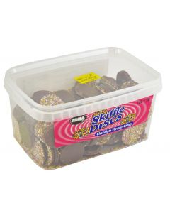 A full tub of Chocolate flavour candy disc sweets with sprinkles on top