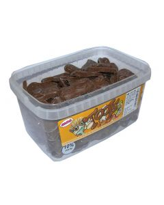 A full tub of chocolate flavour sweets shaped liked tools