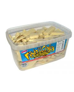 A full tub of fish and chips shaped white chocolate flavour sweets