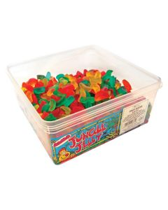 A full tub of fruit flavour jelly sweets in the shape of fruit slices