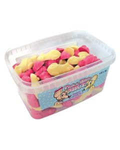 A full tub of strawberry and cream flavour chocolate candy sweets shaped like mice
