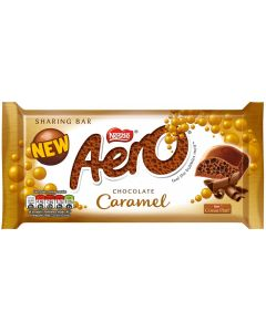 A bubbly milk chocolate bar with a caramel filling