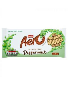 A bubbly milk chocolate bar with a peppermint centre
