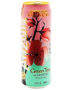 A can of Arizona Georgia Peach Green Tea 685ml