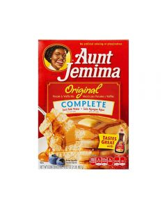 A large box of American pancake mix by Aunt Jemima, imported from America