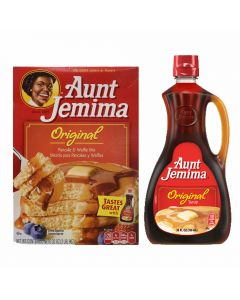 A large box of Aunt Jemima Pancake Mix and Aunt Jemima Pancake Syrup imported from America