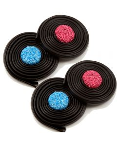 Traditional liquorice wheels sweets with a soft aniseed flavour, coloured round sweet in the centre.