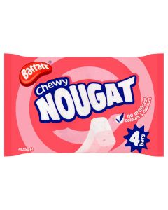 A pack of 4 chewy pink and white nougat bars made by Barratt sweets