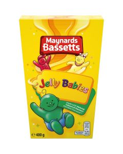 A large 400g box of traditional jelly baby sweets made by Maynards Bassetts