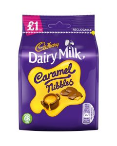 A share size bag of caramel nibbles from cadburys, chewy caramel sweets