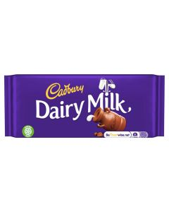 Deliciously creamy Cadbury Dairy Milk chocolate bar, sharing size sweets