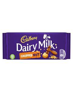 Cadbury's deliciously creamy milk chocolate with chopped hazelnuts