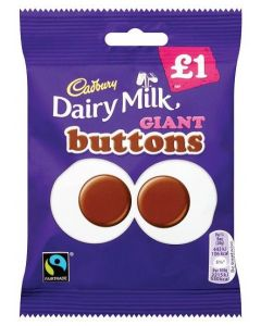 Smooth Cadbury milk chocolate shaped like giant buttons in a share size sweets bag.