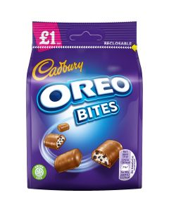 A share size bag of cadbury oreo bites made of milk chocolate with a creamy filling and crunchy oreo bites