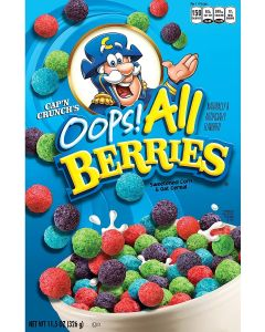 A 326g box of Oops berries flavour cap'n crunch american cereal